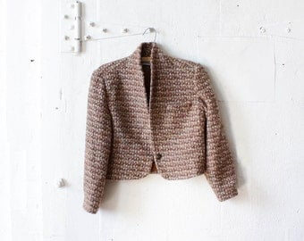 80s Tweed Cropped Jacket S • Wool Mohair Coat • Tweed Shawl Collar Blazer • Preppy Boxy Jacket  | O206