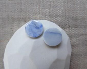Ink Marble Round Porcelain Stud Earrings SALE