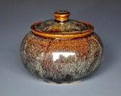 Tawny Sunset Sugar Bowl Small Ceramic Stoneware Jar A