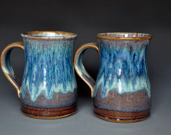 Pair of Large Blue Pottery Mug Ceramic Beer Stein Handmade Stoneware