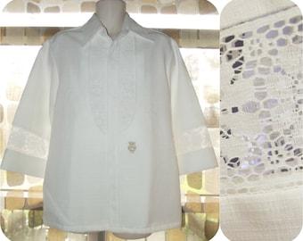 Vintage 60s Men's Shirt | 1960s Hawaiian Shirt | White Crochet Lace Tunic | Mens Beau Tiki Iolani Hawaii | Size LARGE | Hawaiian Wedding