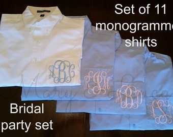 SET OF 11 Monogrammed Button Down shirts, Bride or Bridesmaid, Wedding day party cover ups