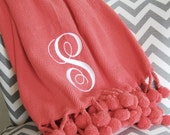 Pom Pom Blanket - Personalized Blanket - Dorm Decor - Dorm Bedding - 50 x 60 Inches - Coral Bedding - Coral, Hot Pink, Turquoise and Gray