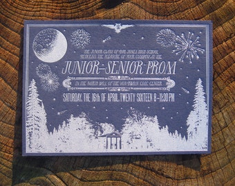 Magical Prom Custom Letterpress Invitations for your High School