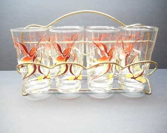 Vintage Humming Bird Glasses with Carrier