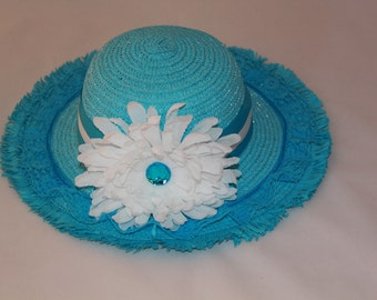 Tea Party Hat - Turquoise Easter Bonnet with Satin Ribbon - Girls Sun Hat - Easter Hat -  Birthday Hat - Sunday Dress Hat - Derby Hat  1657