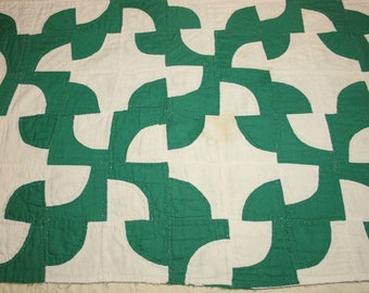 Spruce Green and White Old Maid's Puzzle Quilt Piece - 32 x 21 Inches