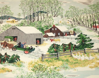 "Unused Mint Grandma Moses ""Early Springtime on the Farm"" Vintage Barkcloth - 46 x 25 Inches"