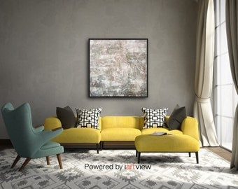 Large Abstract Painting expressionism texture neutral grays sage lavender  36 x 36  Like Home  Swalla Studio
