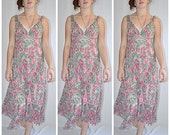 Vintage Retro 1930s Style Bias Cut Green and Rose Floral Silk Chiffon Midi Dress and Slip Sz S