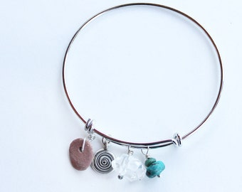 Sedona talisman charm bracelet -  silver and Sedona Red Rock Charm expandable bangle bracelet
