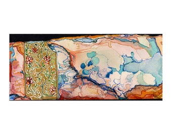 Watercolor art print, blue pink orange gold abstract art, fantasy map art, Cerise Marches