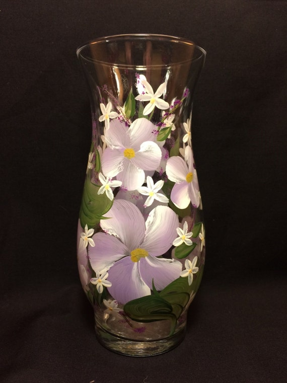 Hand Painted Glass Vase - Island Lilac w White Posies