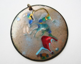 Vintage 50s Studio Jewelry Copper Enamel Mid Century Modernist Abstract Necklace Pendant