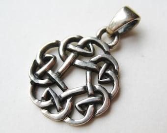 Vintage Sterling Silver Celtic Knot Necklace Pendant