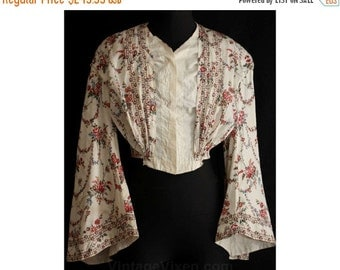ca. 1838 Rose Print Cotton Bodice - Size 0 - Rare Early Victorian Waist - 1800s - Authentic - Antique - Bust 30.5 - Waist 22.5 - 34549