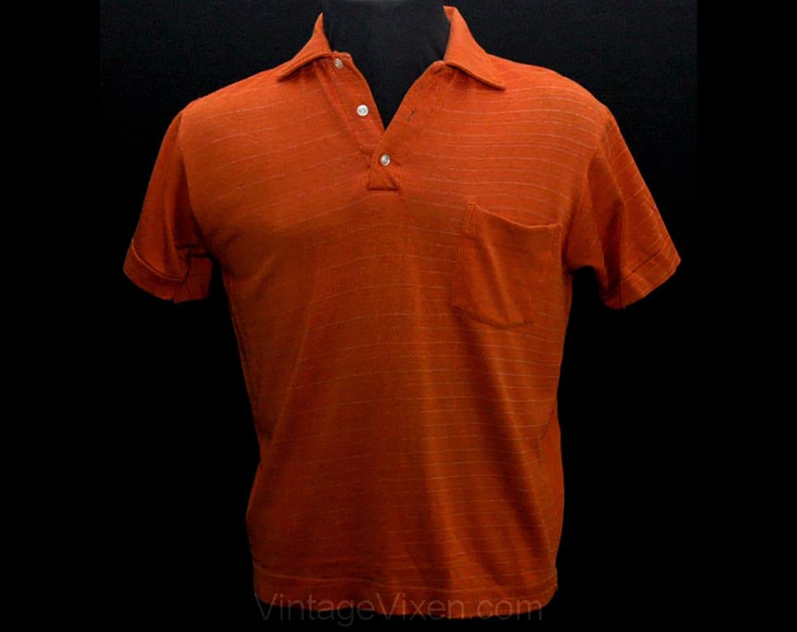 Men 39 s medium polo shirt burnt orange jersey 1960s rugby for Orange polo shirt mens