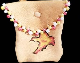 Deerskin Medicine Bag / Pouch w/ Beadwork Trim and Hand Painted Yellow Bird