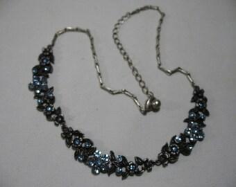 Vintage Floral Swag Necklace with Blue Rhinestones