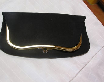 vintage black fold over elegant clutch evening bag by Dover