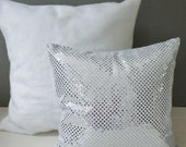 Silver Glitter Bling Sparkle Design Throw Pillows, sparkly custom cushion