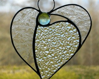 Abstract Stained Glass ornament (Angel Heart) in textured glass