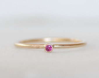 Skinny Ruby Ring - Thin Gold Ruby Stacking Ring - Choose 14k OR 18k Gold