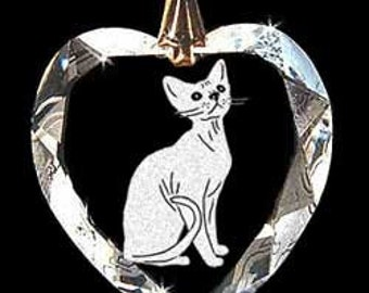 Devon Rex Cat Jewelry Hand Etched Austrian Crystal Custom Necklace Pendant Suncatcher made with any Animal or Name YOU Want, Gift, kitty,