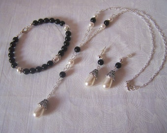 Bridal Set Black and White Pearls Swarovski Goth