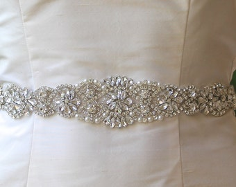 Crystal Bridal Sash, Long Silver Crystal Sash, Crystal Wedding Belt, Wedding Dress Belt, Ceinture de Mariée ALOHA SL