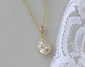 Gold Teardrop Necklace, Rose Gold & Silver Teardrop Necklace, Gold Wedding Jewelry, TAMARA G