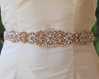 Rose Gold Bridal Sash, Full Length Rose Gold Crystal Sash, Crystal Wedding Dress Belt, Ceinture de Mariée ALOHA RG