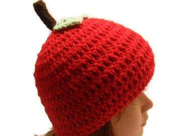 Red Apple Hat, Apple Hat, Fruit Hat, Kawaii Beanie, Novelty Hat, Kids Fruit Beanie, Food Hat, Crochet Apple Hat
