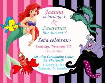 DIY print Little mermaid invites, ursula invites, disney little mermaid printable invites, little mermaid and founder invites, Invitations