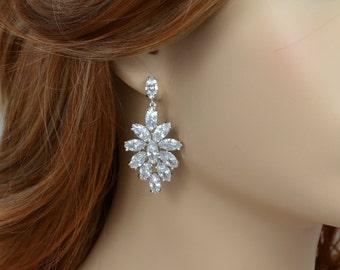 Bridal Crystal Stud Earrings, Cubic Zirconia, Wedding Jewelry, Diana Earrings - Ships in 1-3 Business Days