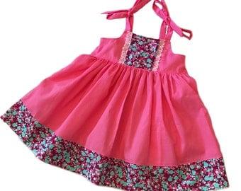 Girls Ella Dress Shoulder Ties Elastic Back Hot Pink with Mini Floral Contrast Toddler Girl Infant