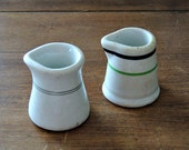 SET of 2 vintage white ironstone creamers pitcher stripes