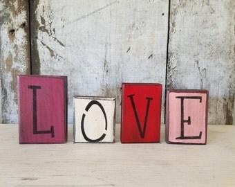 Primitive Valentines Decor, Love Shelf Sitter, Love sign, Painted Love Sign, Rustic Valentines, Primitive Decor, Country Decor, Shelf Sitter