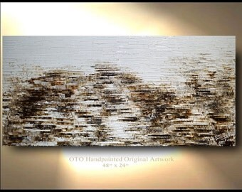 Abstract Art 72 inch Original Beige Brown White Tan Oil Texture wall decor Artwork Fine art canvas by OTO