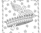 5 Digital Pages of Crosses to Color. Instant Download Digi Stamps Coloring Book
