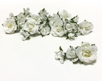 27 Tiny WHITE Mini Artificial Roses- Silk Flowers, Artificial Flowers, Flower Crown, Millinery, Wedding, Corsage, Boutonnière