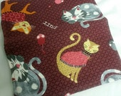 Cats Checkbook Cover Coupon Holder Clutch Purse Billfold Ready-Made Burgundy Plaid