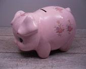pink porcelain piggy bank / lefton pig bank