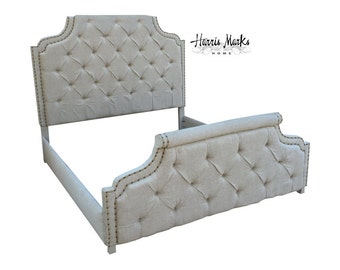 Tufted Bed King Marquesa Headboard Foot and Side Rails Fabric Button Nail Head Trim By CUSTOM ORDER ONLY