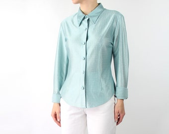 VINTAGE 1970s Blouse Sea Foam Green Point Collar Shirt