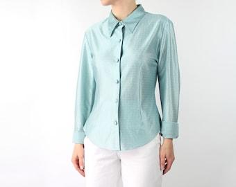VINTAGE 1970s Blouse Sea Foam Green Point Collar Shirt