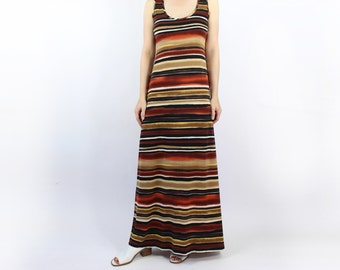 VINTAGE 1990s Tank Maxi Dress Striped Long