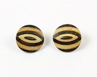 VINTAGE Wood Earrings Round Big Pierced