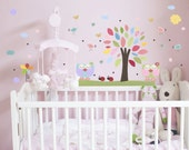 NEW!! Nursery tree Wall Decals - Baby Girl Room Nursery art decor, Baby owl room wall Stickers, love birds, pink, green, aqua, butterfly