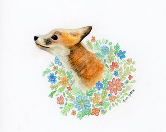 Floral Fox 6x6 Inch Original Watercolor Painting